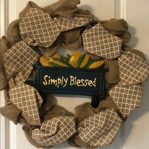 NWT handmade burlap wreath blessed truck w/ corn